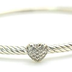 David Yurman Diamond Cable Bangle .10 Ct .925 Sterling Silver Heart Shape