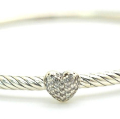 David Yurman Diamond Cable Bangle .10 Ct .925 Sterling Silver Heart Shape