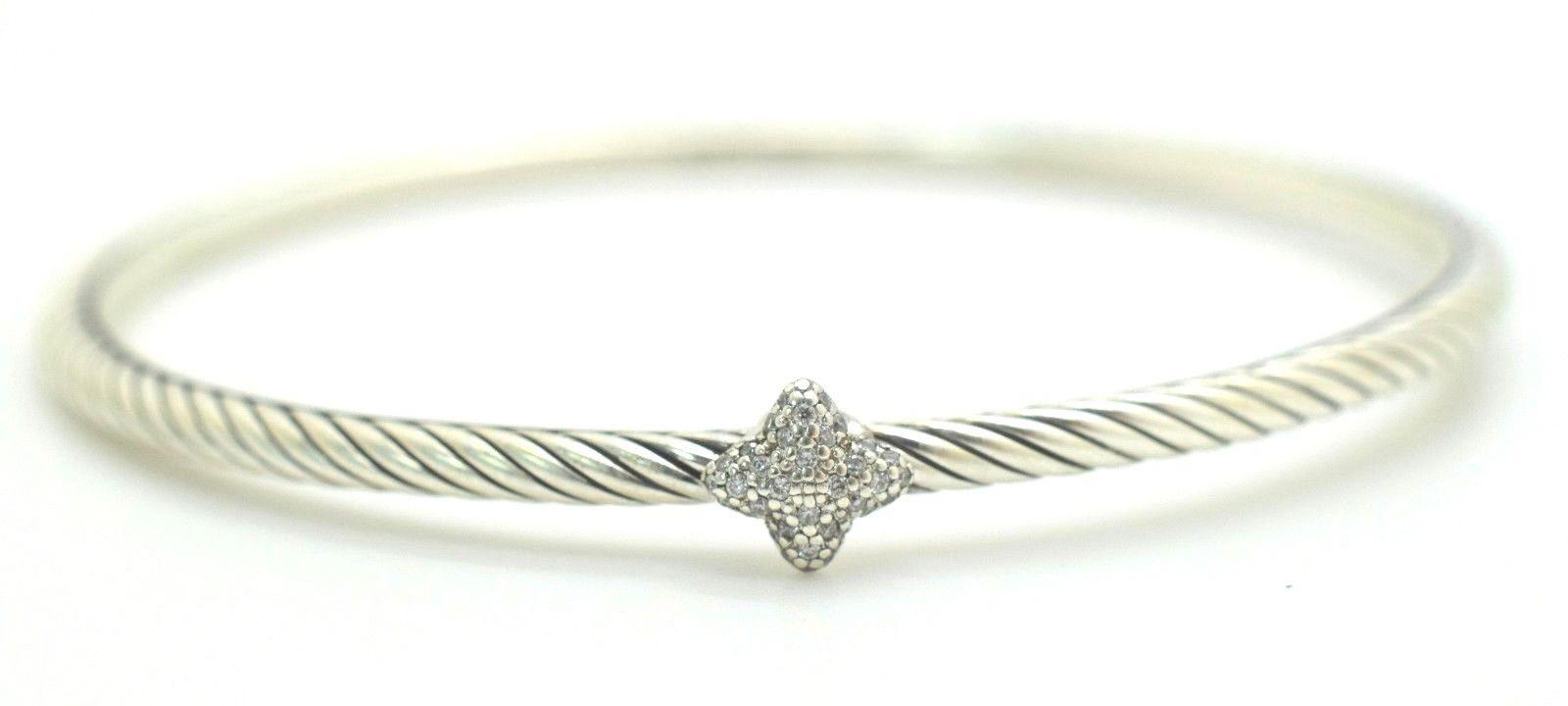 David Yurman Diamond Confetti Quatrefoil .925 Sterling Cable Bangle .7 ct