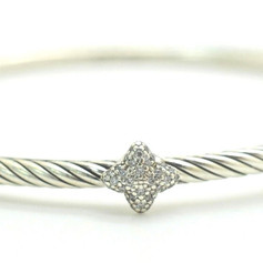 David Yurman Diamond Confetti Quatrefoil .925 Sterling Cable Bangle .7 ct