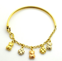 Vintage Charm Bracelet 18k Yellow Gold Teddy Bears & Clovers 6.02 Gram