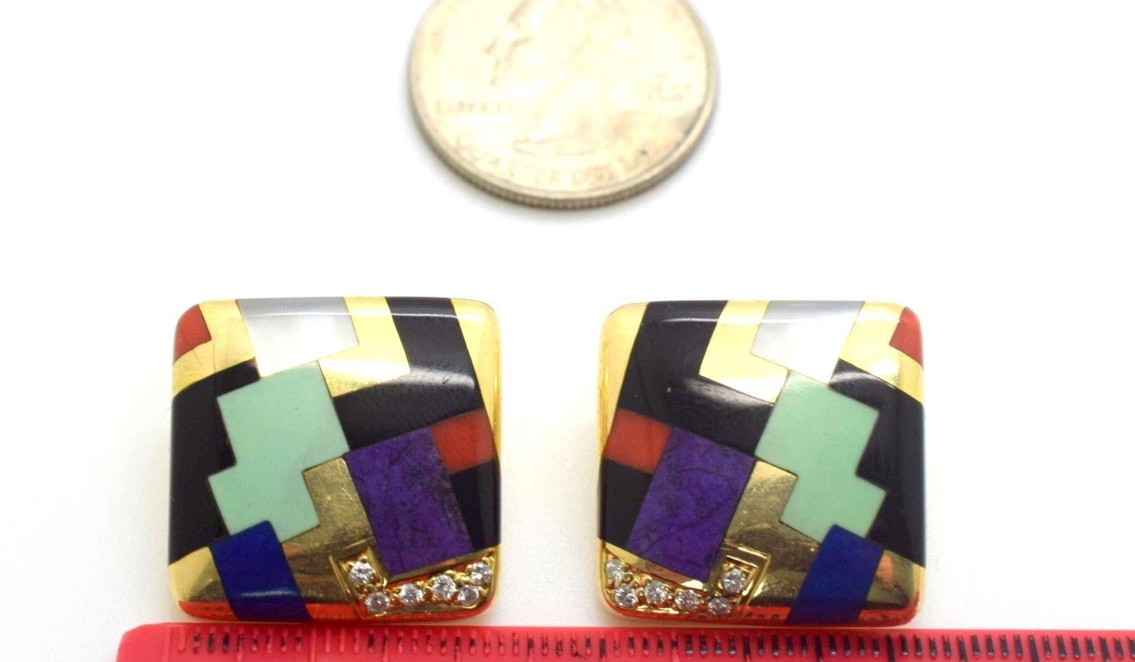 Vintage Estate 14k Asch Grossbardt Inlayed Multi Stone Diamond Earrings