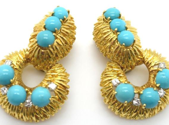 Estate David Webb Turquoise & Diamond Door Knocker Earrings 18k Gold 33.5 Grams