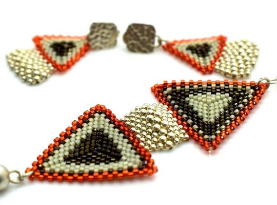 Vintage Sterling Silver Colombian Handmade Bead Necklace Earrings Set 13.1 G