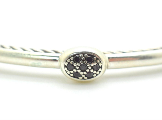 David Yurman Black Diamond Cable Bangle .7 Ct .925 Sterling Silver Oval Shape
