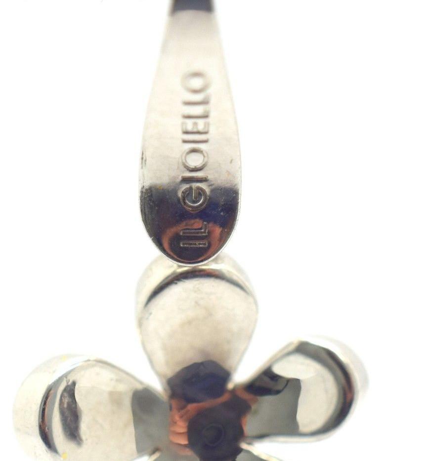 IL GIOIELLO 18K White Gold Flower Lever Back Earring Set 4.29 Grams