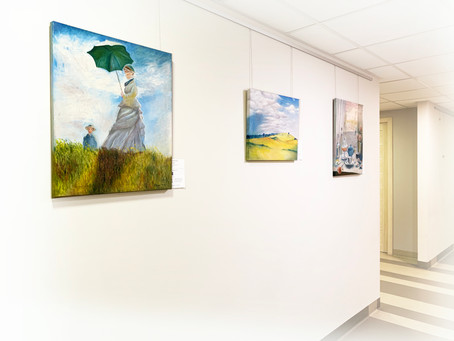 Paintings in an office
