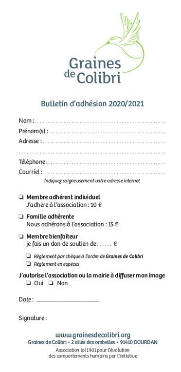 Adhesion Colibri Dourdan 2020-21