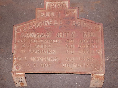 1920 Kansas City Mo Bridge Plaque