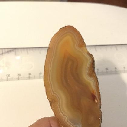 Agate Slice ,creamy brown