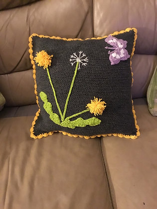 Butterfly and dandelion cushion