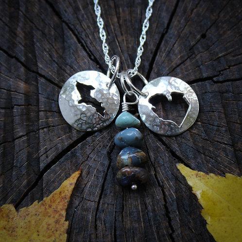 Leland Blue and Michigan charm necklace