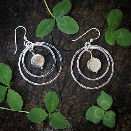 Petoskey Stone earrings silver concentric circles