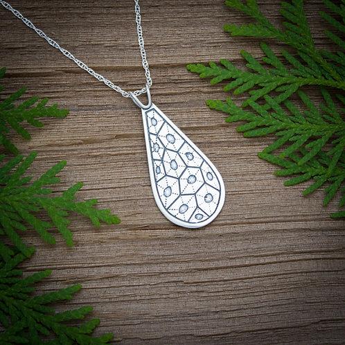 Petoskey stone pattern silver pendant