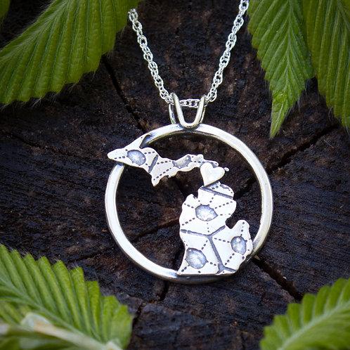 Petoskey stone pattern silver Michigan pendant
