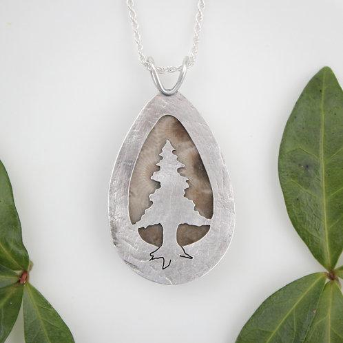 Petoskey Stone Pendant with silver pine tree