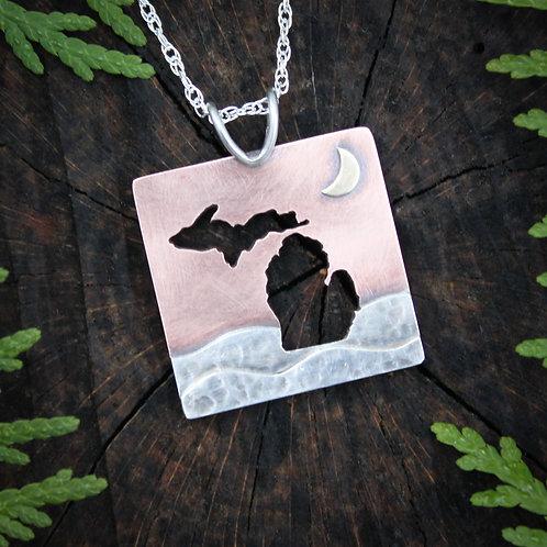 Michigan moon pendant, mixed metals