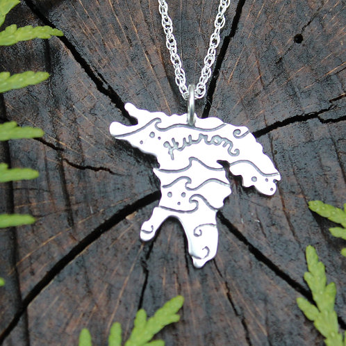 Lake Huron pendant in sterling silver