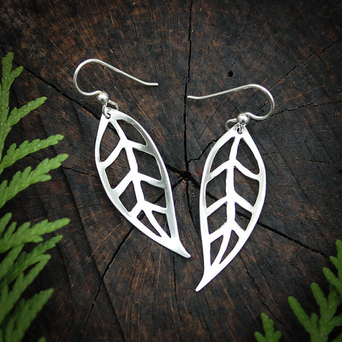 Open leaf silver earrings