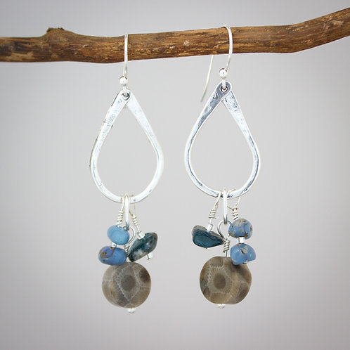 Boho Petoskey Stone and Leland Blue earrings