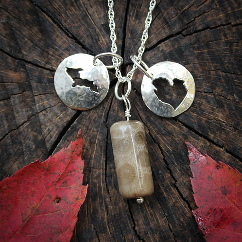 copy of Petoskey stone and Michigan charm necklace