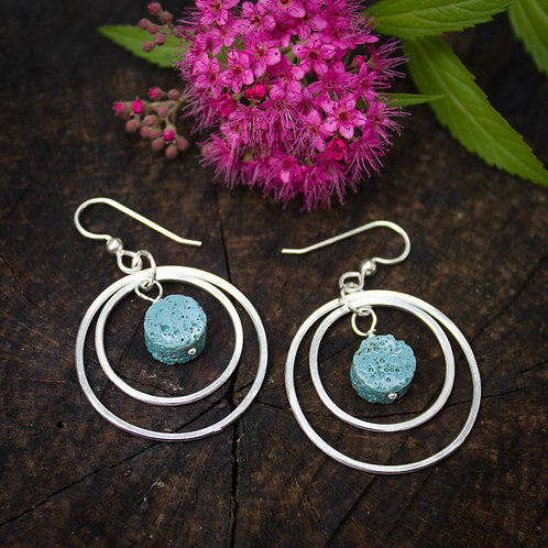 Leland Blue earrings with concentric silver hoops