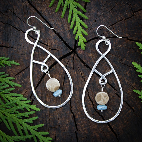 Chandelier earring with Petoskey Stone and Leland Blue beads