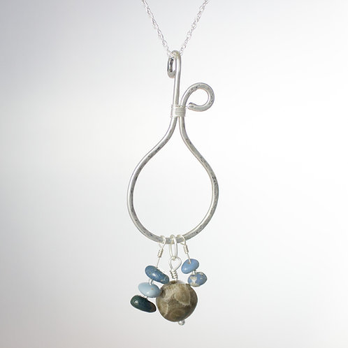 Boho Petoskey stone and Leland Blue necklace