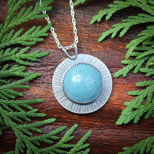 Leland Blue radial pendant with Michigan mitten on reverse