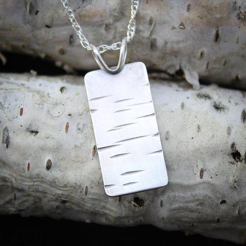 Sterling silver birch bark patterned pendant