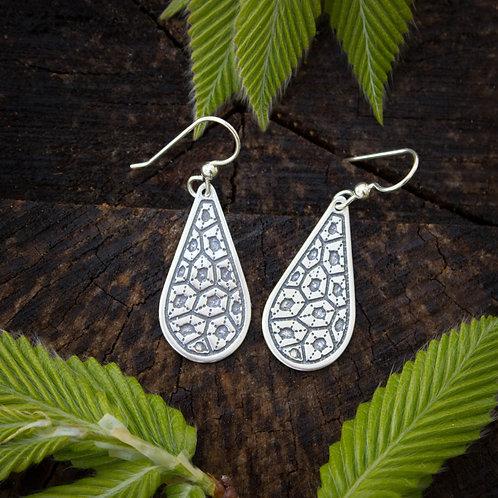 Petoskey stone pattern silver earrings