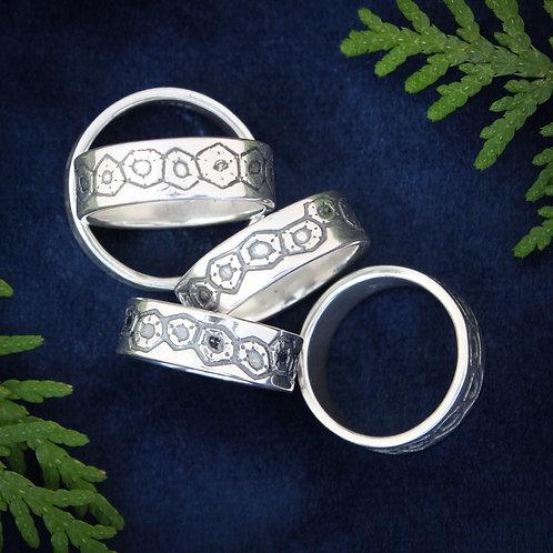 Petoskey stone pattern silver ring