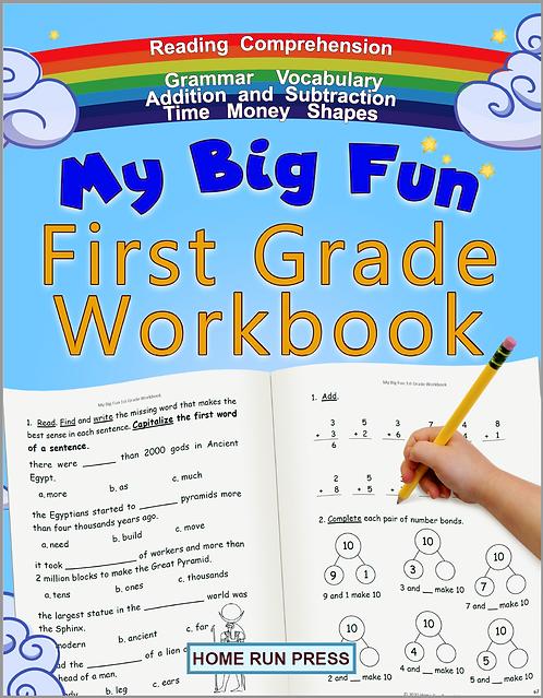 My Big Fun First Grade Workbook: 1st Grade Workbook Math, Language Arts, Science