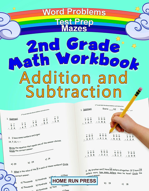 2nd Grade Math Workbook Addition and Subtraction: Second Grade Workbook, Timed Tests, Ages 4 to 8 years, 1st grade workbooks