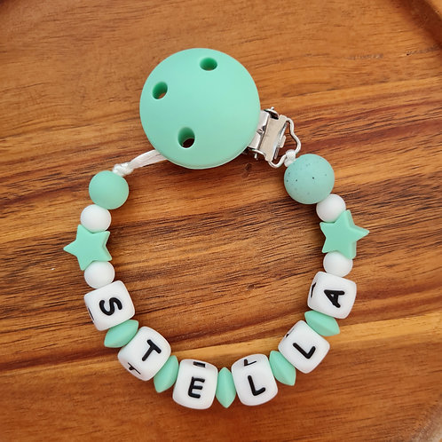 Babygeschenk personalisiert mit Name Nuggikette Schnullerkette türkise Sterne Silikon Geburt Taufe Wunderdinge