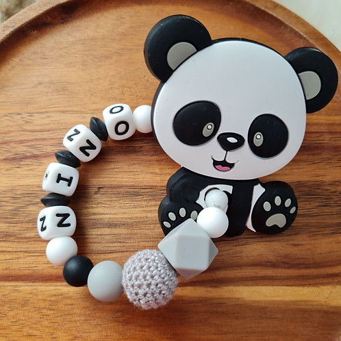 Nuggikette Schnullerkette personalisiert mit Namen Panda grau weiss schwarz Babygeschenke Wunderdinge
