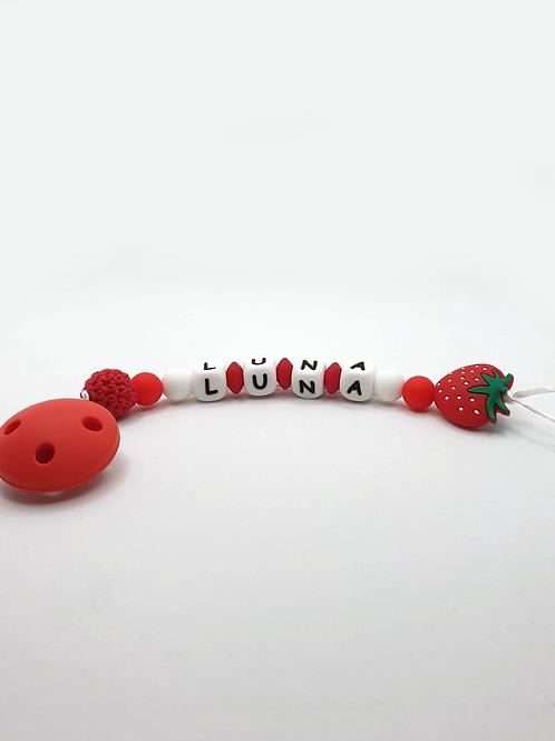 Personalisierte Nuggikette Erdbeere aus Silikon