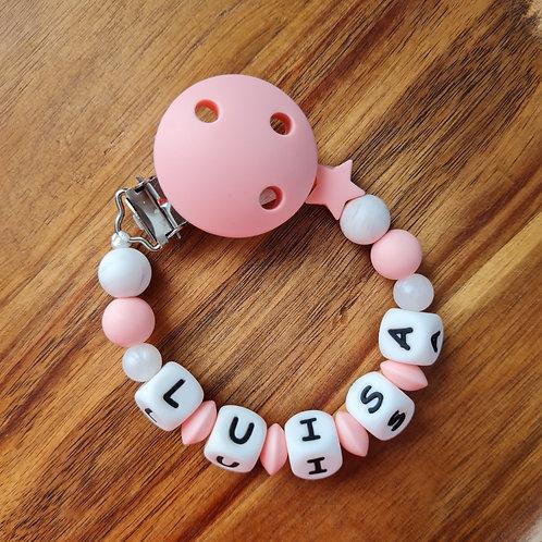 Nuggikette Schnullerkette personalisiert mit Namen rosa Stern Silikon Babygeschenke Wunderdinge
