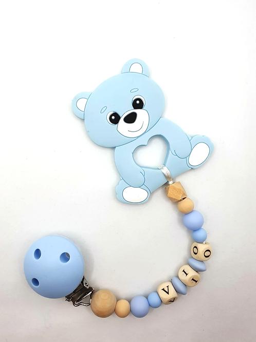 Personalisierte Beisskette blauer Bär
