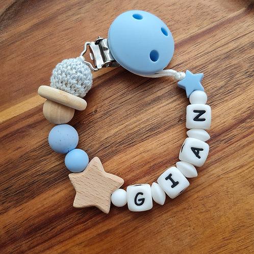 Nuggikette Schnullerkette personalisiert mit Namen Sternenhimmel blau weiss Silikon Holz Babygeschenke Wunderdinge