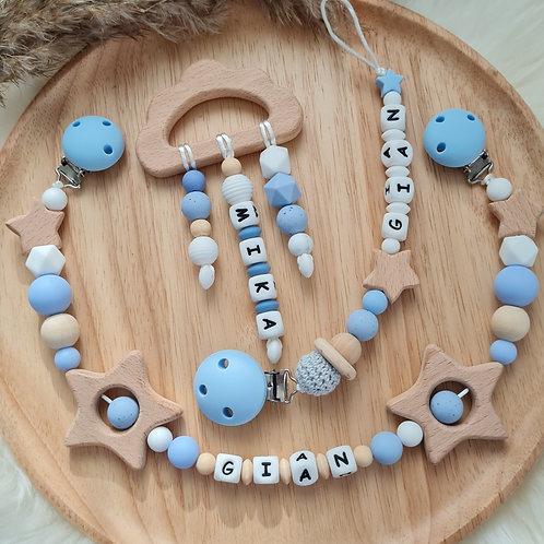 Baby Geschenkset personalisiert mit Name Nuggikette Schnullerkette Greifling Beissring Wagenkette MaxiCosi blau Holz Silikon