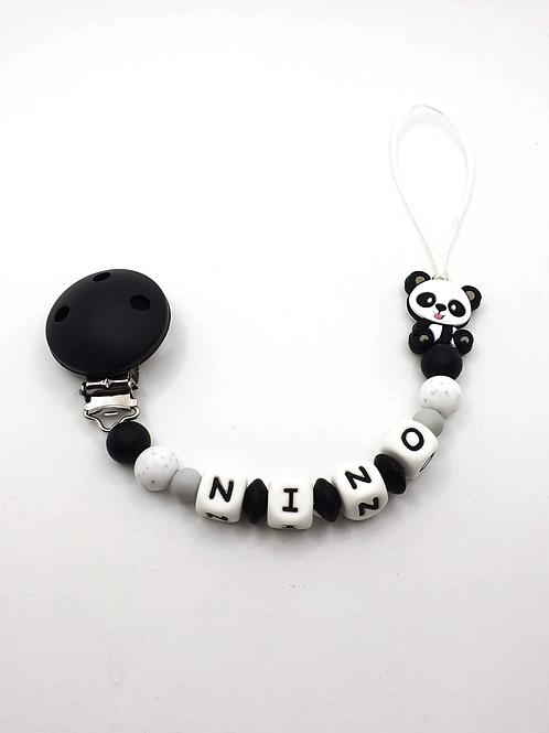Personalisierte Nuggikette Panda aus Silikon