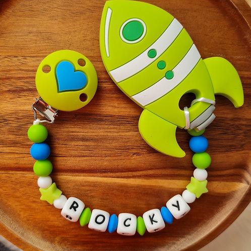 Beisskette personalisiert mit Namen Rakete blau grün Silikon Babygeschenke Wunderdinge