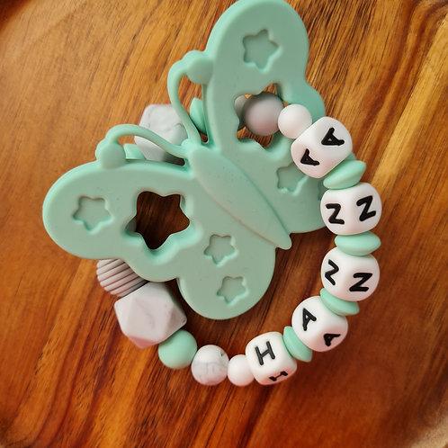Greifling Beissring personalisiert mit Namen Marmor türkis grau marmor Silikon Babygeschenke Wunderdinge