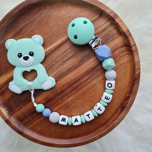 Beisskette personalisiert mit Namen Meeresrauschen blau türkis Silikon Bär Babygeschenke Wunderdinge
