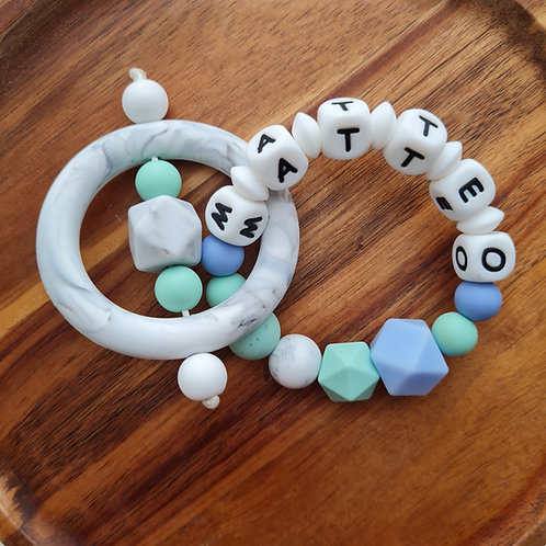 Greifling Beissring personalisiert mit Namen Meeresrauschen türkis blau Silikon Babygeschenke Wunderdinge