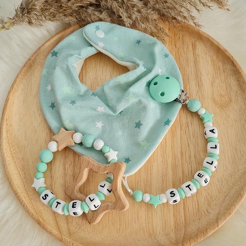 Geschenkset Baby Babygeschenk Lätzchen Nuggikette Schnullerkette Greifling Beissring Stern Silikon Wunderdinge