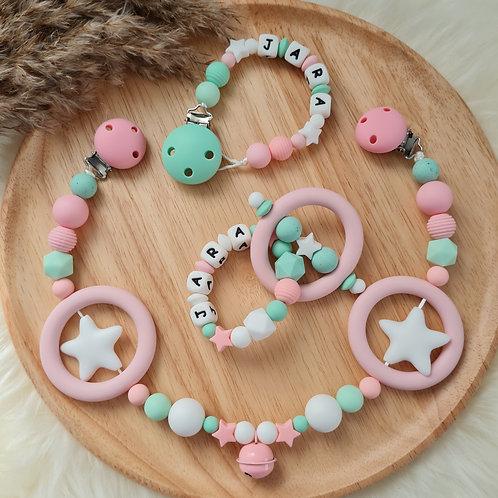 Baby Geschenkset personalisiert mit Name Nuggikette Schnullerkette Greifling Beissring Wagenkette rosa türkis mint Silikon