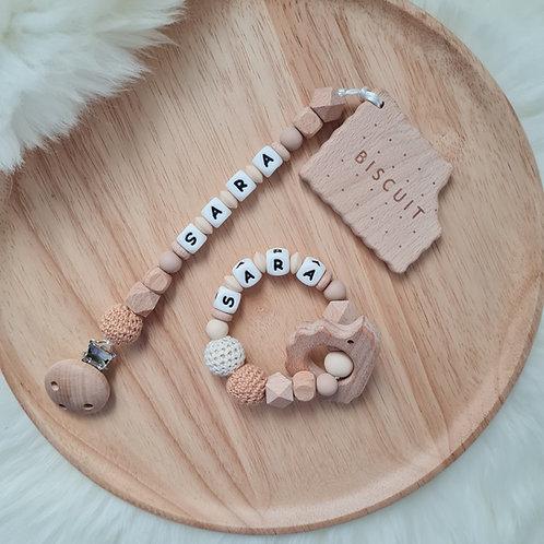 Babygeschenk Geschenkset Baby personalisiert mit Name Beisskette Greifling Beissring Natur Holz Silikon Geburt Wunderdinge