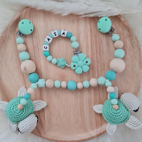 Geschenkset personalisiert mit Name Babygeschenk Geburt Taufe Wagenkette Nuggikette Schnullerkette Schildkröte mint Silikon